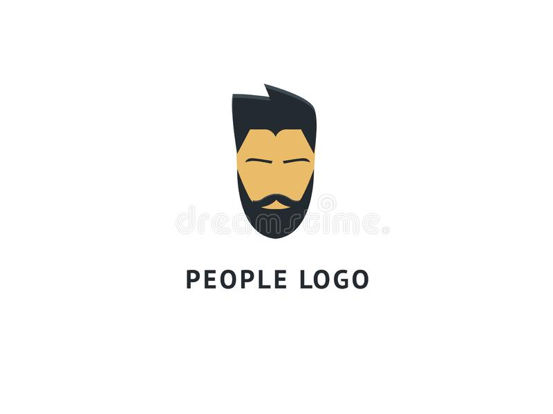 Set of vector bearded men faces, hipsters with different haircuts, mustaches, beards, sunglasses. Abstract vetor logo vector design. Sign for business, internet stock illustration