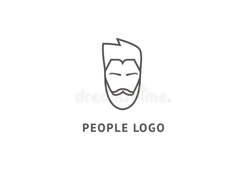 Set of vector bearded men faces, hipsters with different haircuts, mustaches, beards, sunglasses. Abstract vetor logo vector design. Sign for business, internet royalty free illustration