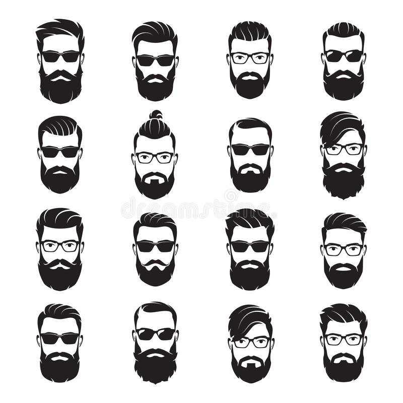 Set of vector bearded men faces hipsters with different haircuts. Mustaches, beards, sunglasses. Silhouettes, avatars, emblems, icons labels royalty free illustration