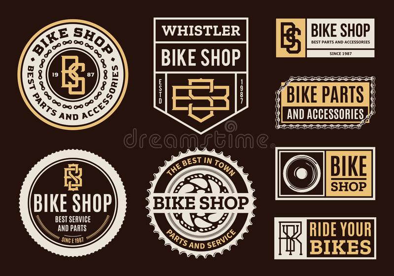 Set of vector bike shop, bicycle part and service logo royalty free illustration
