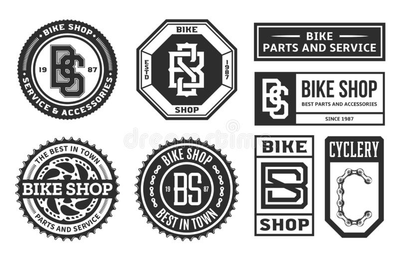 Set of vector bike shop, bicycle part and service logo vector illustration