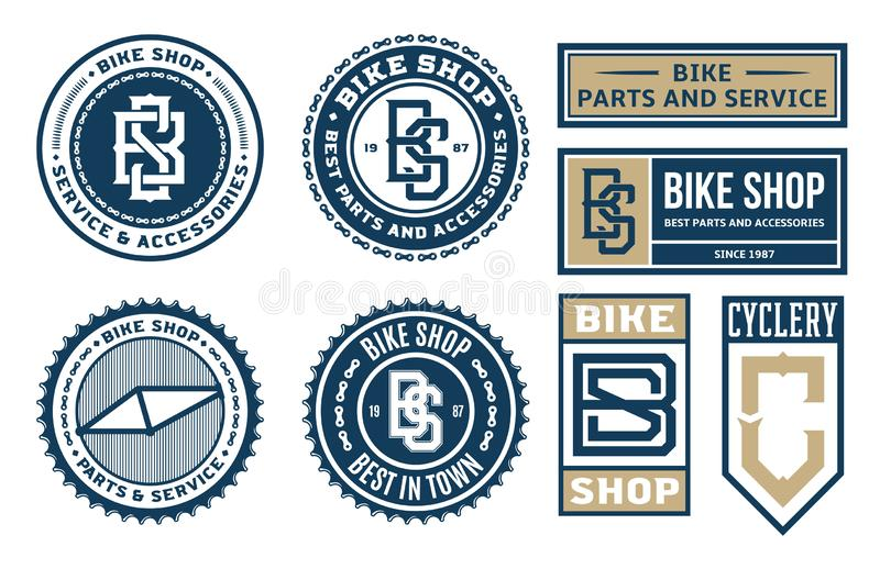 Set of vector bike shop, bicycle part and service logo. Badges and icons isolated on a white background stock illustration