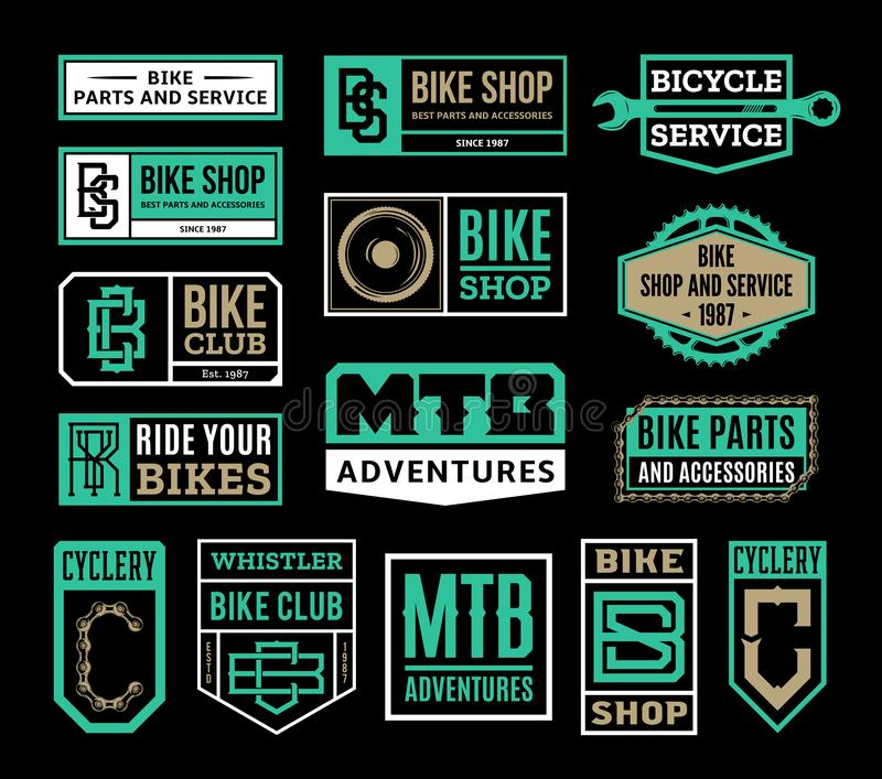 Set of vector bike shop, bicycle service, mountain biking clubs logo, badges and icons vector illustration