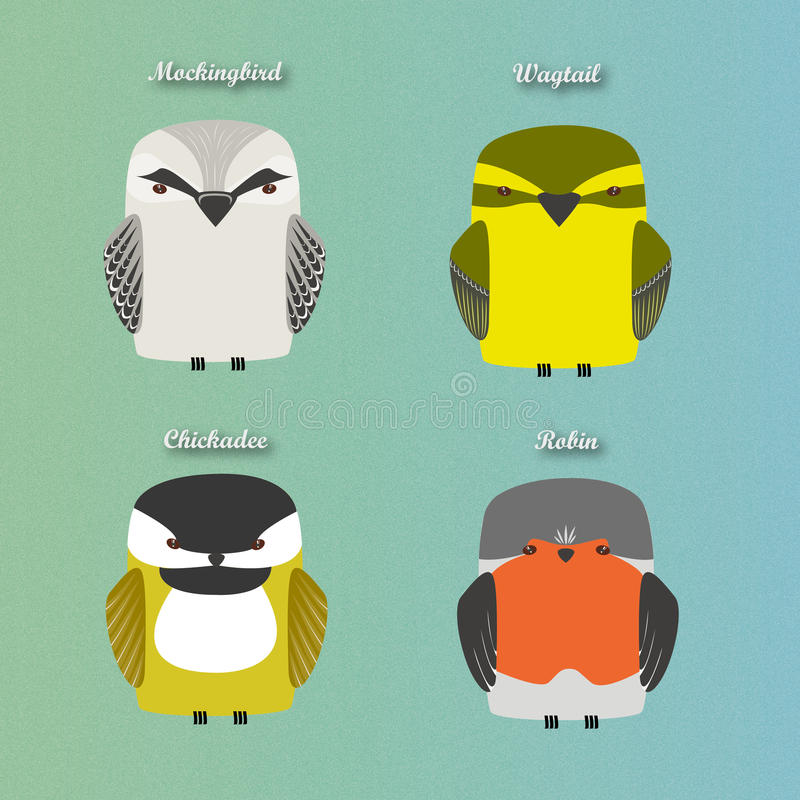 Set of vector birds. Set of common birds,bet for illustrations or various printables. Includes mockingbird, wagtail, chickadee and robin bird royalty free illustration