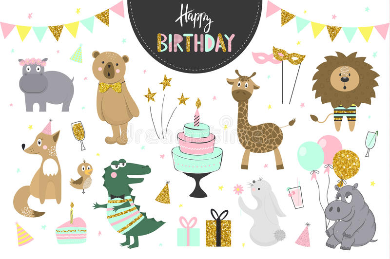 Set of vector birthday party elements with cute animals. stock illustration