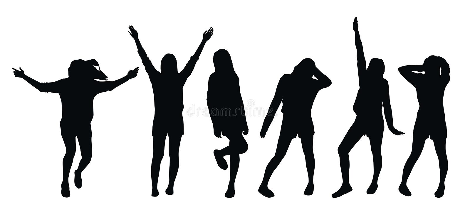 Set of vector black silhouettes of posing girl isolated on white background vector illustration