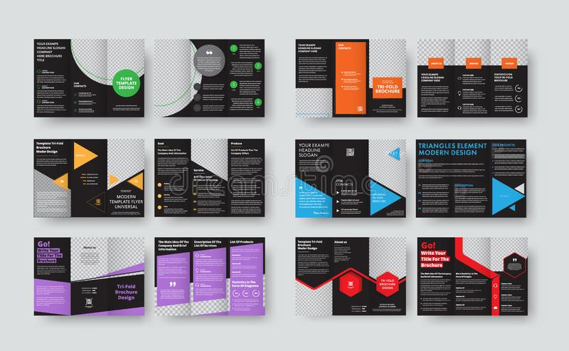 Set of vector black templates for tri-fold brochures with space. For photos and various geomteric forms. Folding flyer design for business and advertising vector illustration