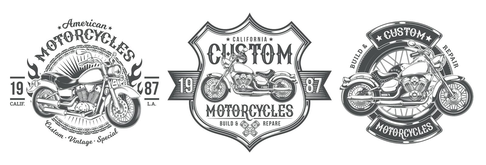 Set vector black vintage badges, emblems with a custom motorcycle vector illustration