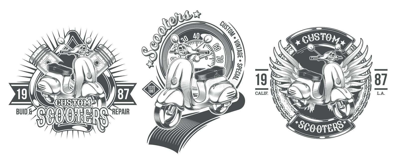 Set vector black vintage badges, emblems with a custom scooter vector illustration