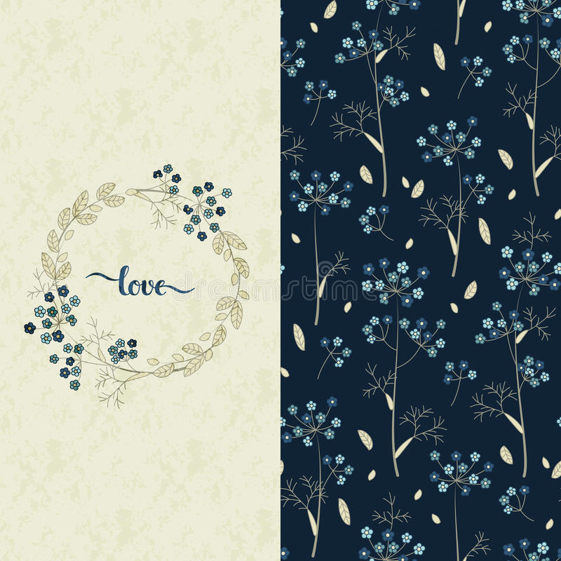 Set with vector blue pattern with pretty flowers and a card with hand drawn word love. Vector set with vector blue pattern with pretty flowers and a card with royalty free illustration