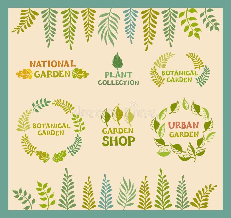 Set of vector botanical round leafer backgrounds. Flora poster designs, botanical garden, urban garden, national garden, garden shop, plant collections logo royalty free illustration