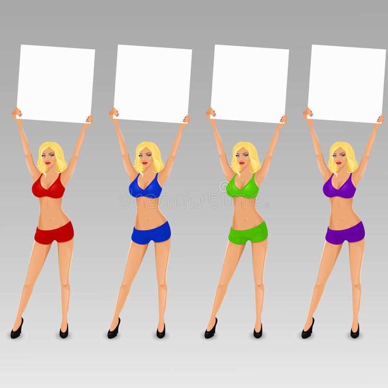 Set of vector boxing ring girls holding a board stock illustration