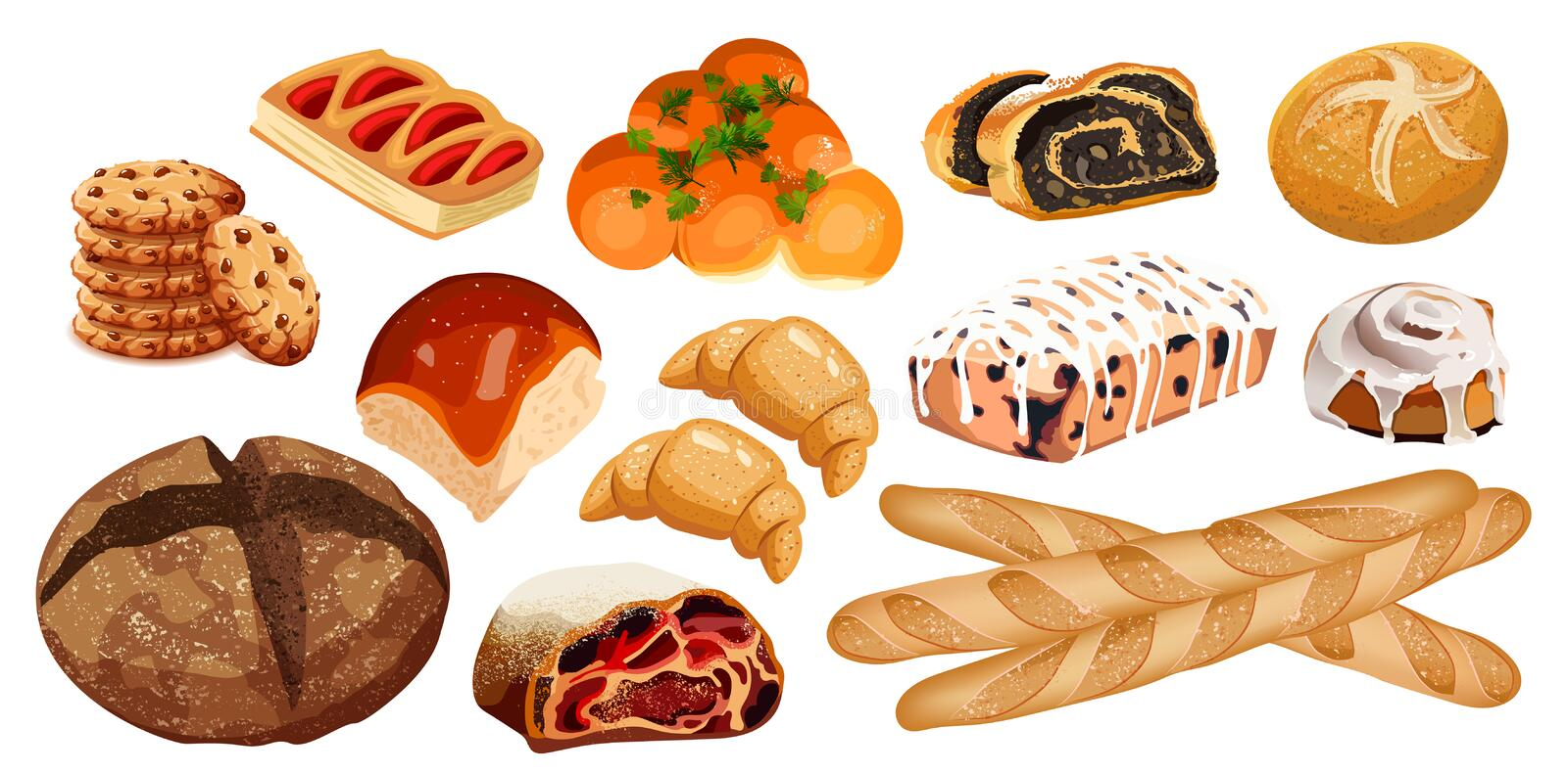 Set vector bread icons. Rye, whole grain and wheat bread, pretzel, muffin, croissant, bagel, french baguette, cherry. Strudel, bun, muffin with icing, roll with royalty free illustration