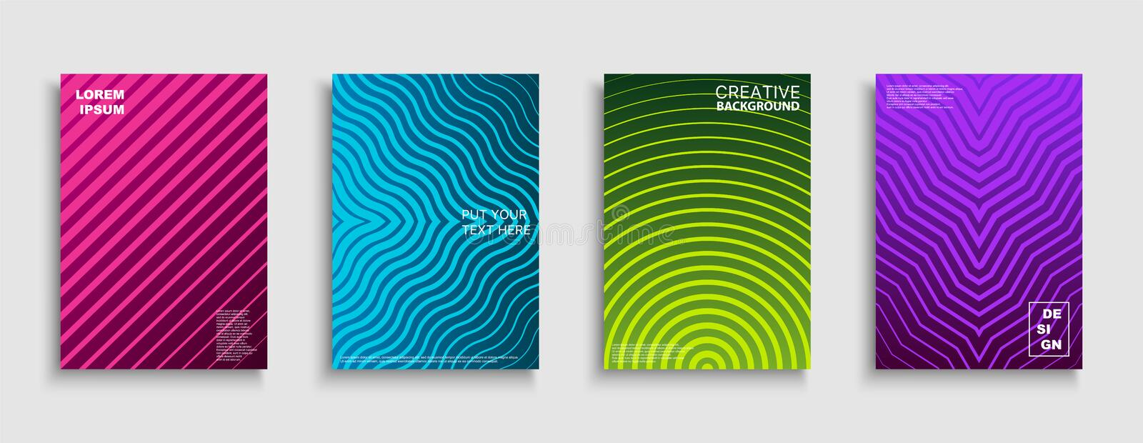 Set of vector bright abstract contemporary templates, posters, placards, brochures, banners, flyers, backgrounds and etc royalty free illustration