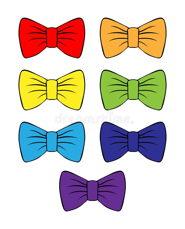 Set of vector bright bows. multicolored bow drawing with contour. for decoration and design. costume butterfly rainbow colored. ch. Set of vector bright bows royalty free illustration