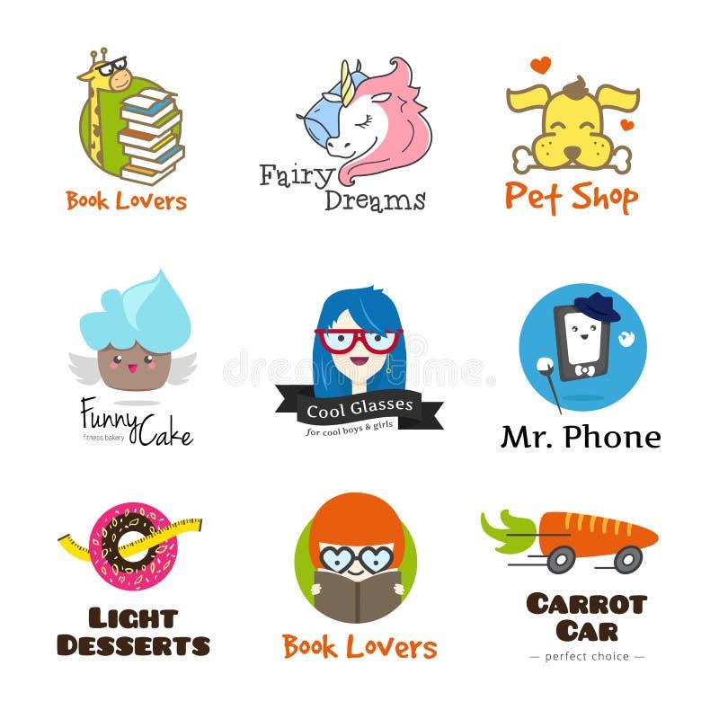 Set of vector bright cartoon style logos. vector illustration