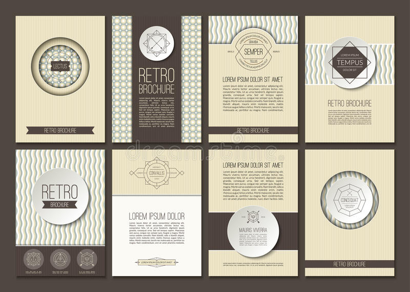 Set of vector brochures in vintage style royalty free illustration