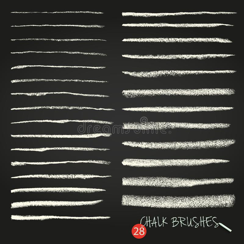 A set of vector brush strokes. Chalk and charcoal. Paint spots. Grunge texture. A high resolution. stock illustration