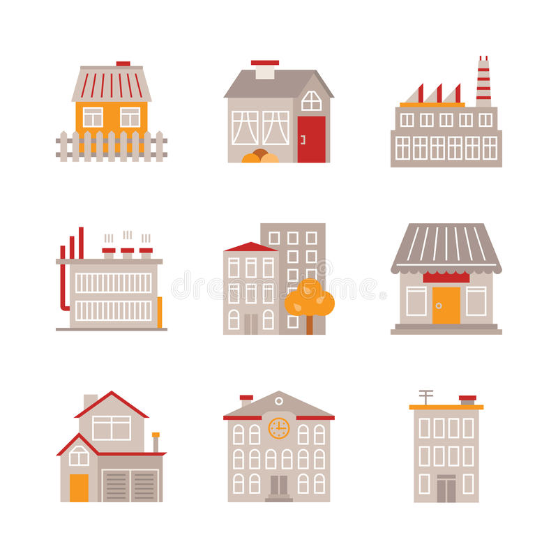 Set of vector building icons and concepts in flat style royalty free illustration
