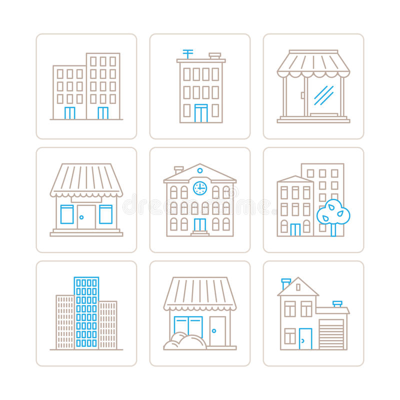 Set of vector building icons and concepts in mono thin line style.  vector illustration