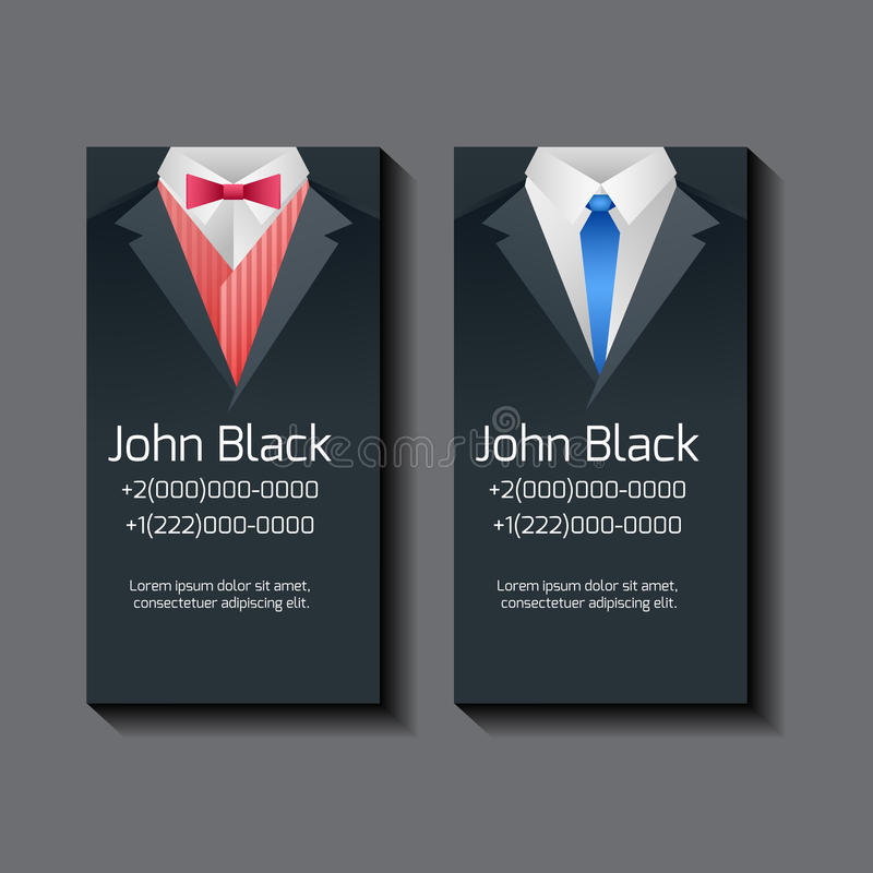 Set of vector business card templates with men's suits vector illustration