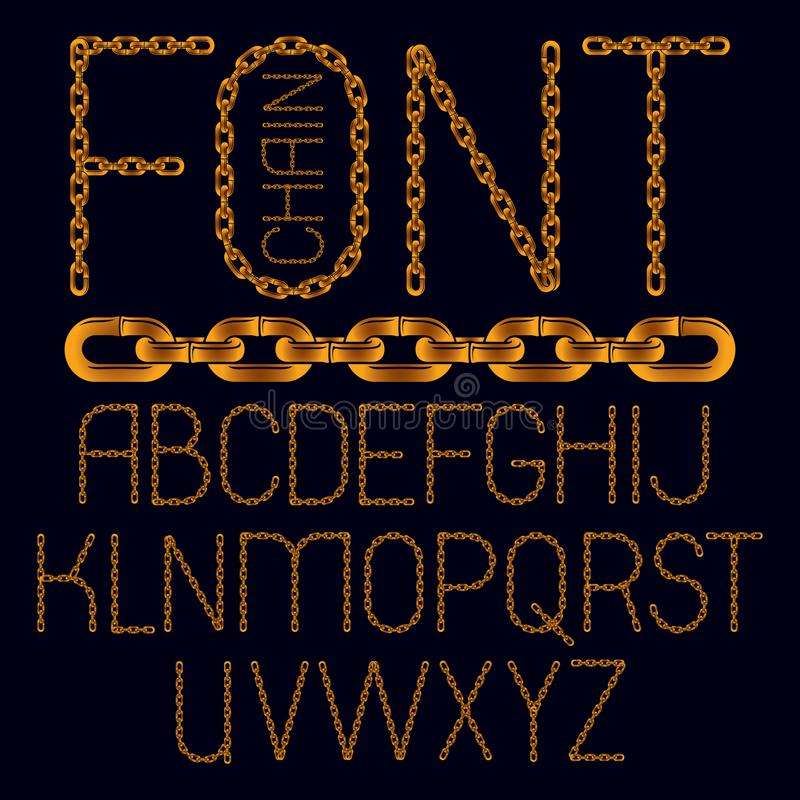 Set of vector business English alphabet letters isolated. Capital creative font made with iron chain, linked connection. royalty free illustration