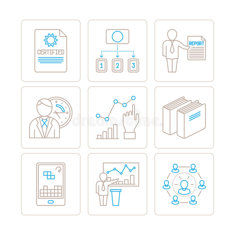 Set of vector business or finance icons and concepts in mono thin line style.  royalty free illustration