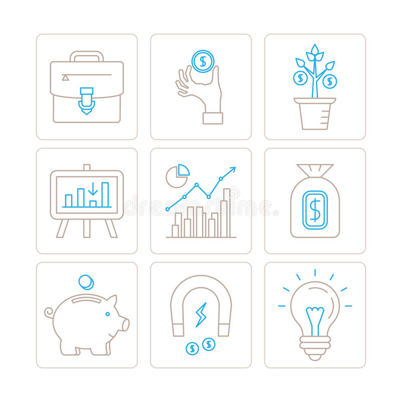 Set of vector business or finance icons and concepts in mono thin line style.  stock illustration