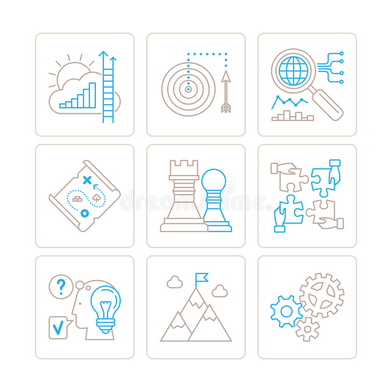 Set of vector business icons and concepts in mono thin line style.  royalty free illustration