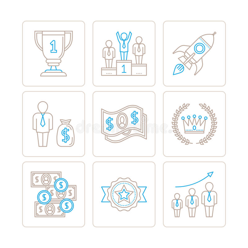 Set of vector business icons and concepts in mono thin line style.  stock illustration