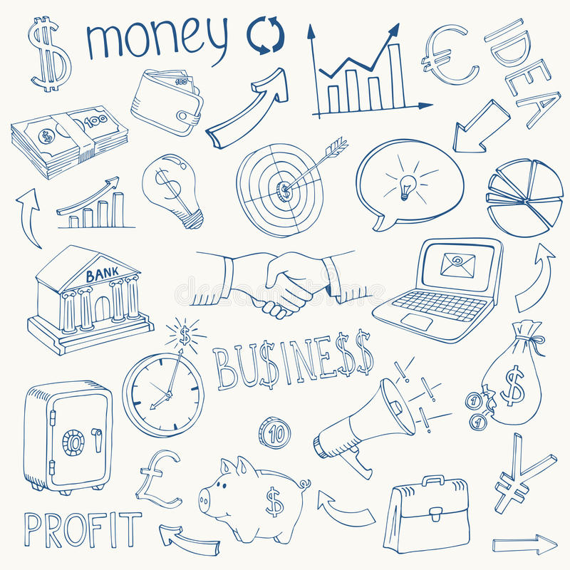 Set of vector business and money icons royalty free illustration