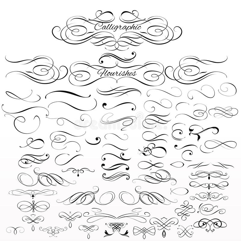 Set of vector calligraphic elements and page decorations vector illustration