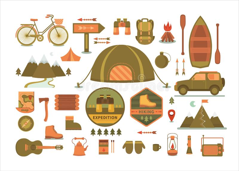 Set of vector camping tools. royalty free stock images