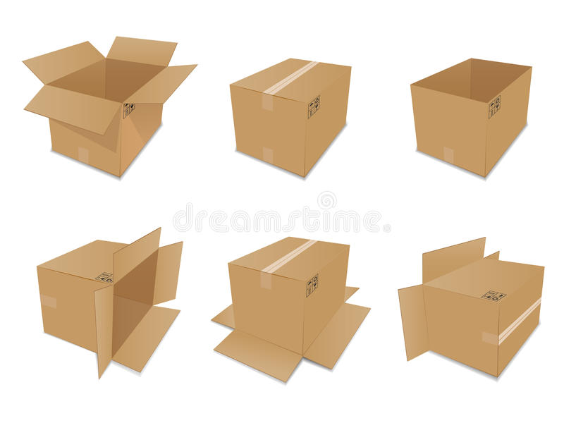 Set of vector cardboard boxes royalty free illustration