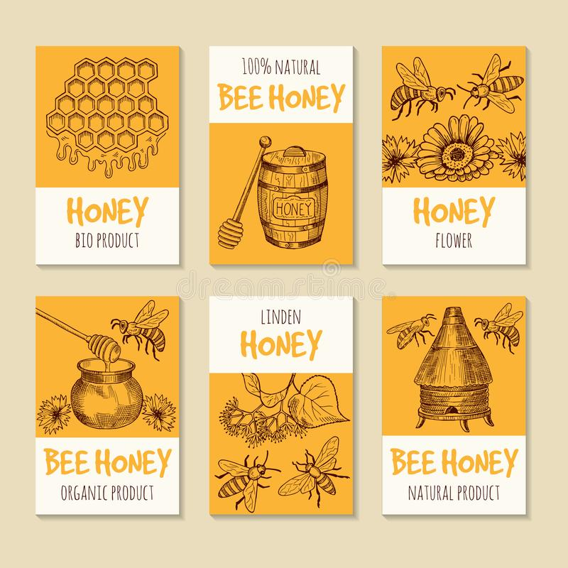Set of vector cards for honey products. Healthy food symbols vector illustration