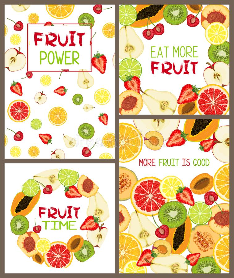 Set of vector cards with natural fruit slices and text message royalty free illustration