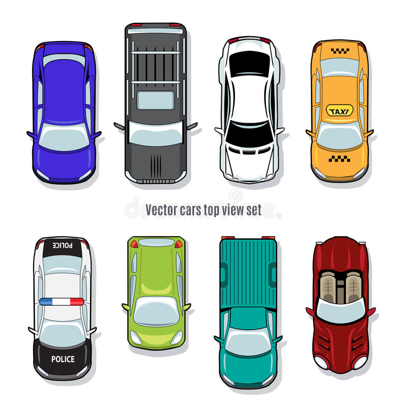 Cars Collection In Top View: Set Of Vector Cars Top View Stock Vector