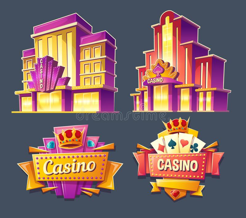 Icons of casino buildings and retro signboards stock illustration