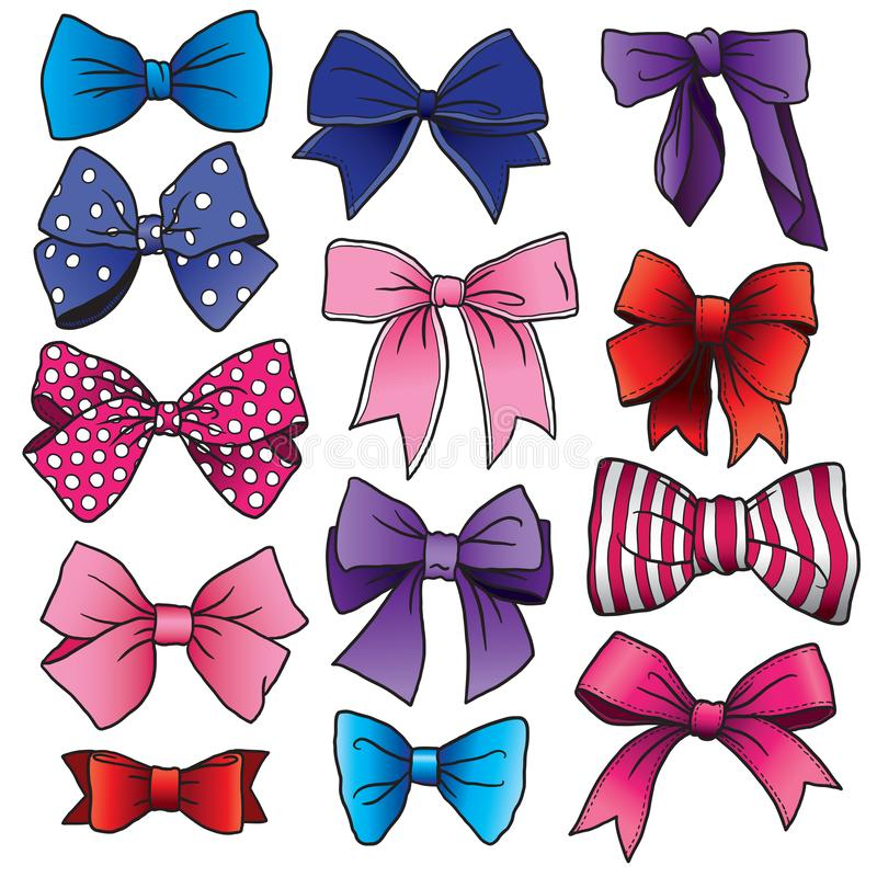 Cartoon bows and ribbons in different colors stock illustration