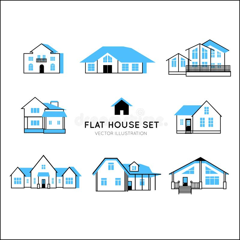 Set of vector cartoon houses. royalty free stock images