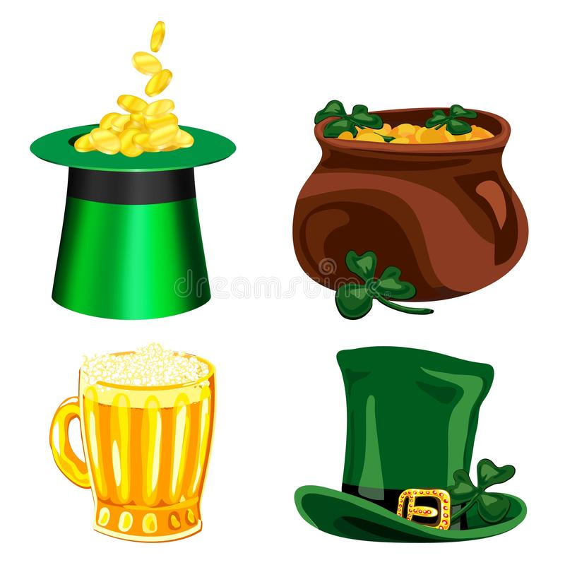 Set of vector cartoon icons for St. Patrick s Day. royalty free illustration