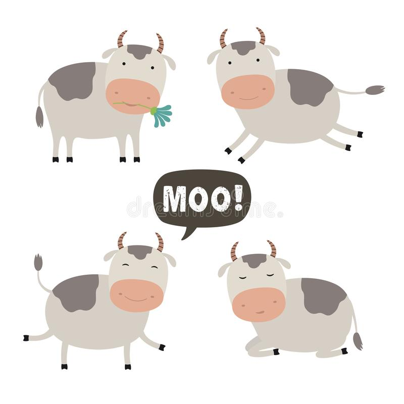 Set of Vector Cartoon Illustration. A Cute Cow for you Design stock illustration