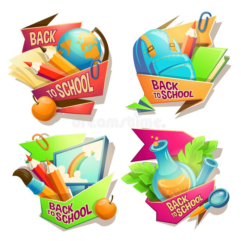 Set of vector cartoon illustrations, badges, stickers, emblems, colored icons of school supplies vector illustration