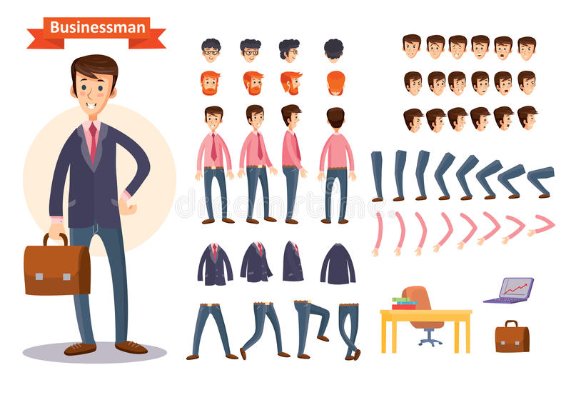 Set of vector cartoon illustrations for creating a character, businessman. vector illustration