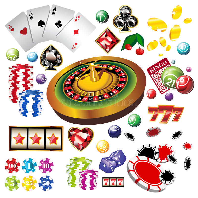 The set of vector casino elements or icons. Including roulette wheel, playing cards, chips, dice and more royalty free illustration