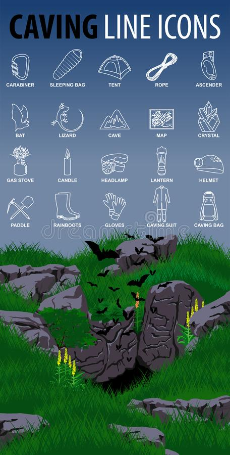 Set of vector caving speleo travel thin line icons with cave and bats. Illustration royalty free illustration