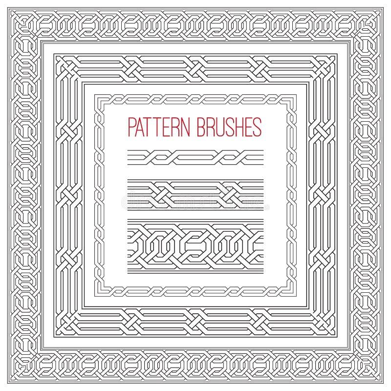 Set of vector celtic frame for design. Pattern brushes collection. Vector ornament royalty free illustration