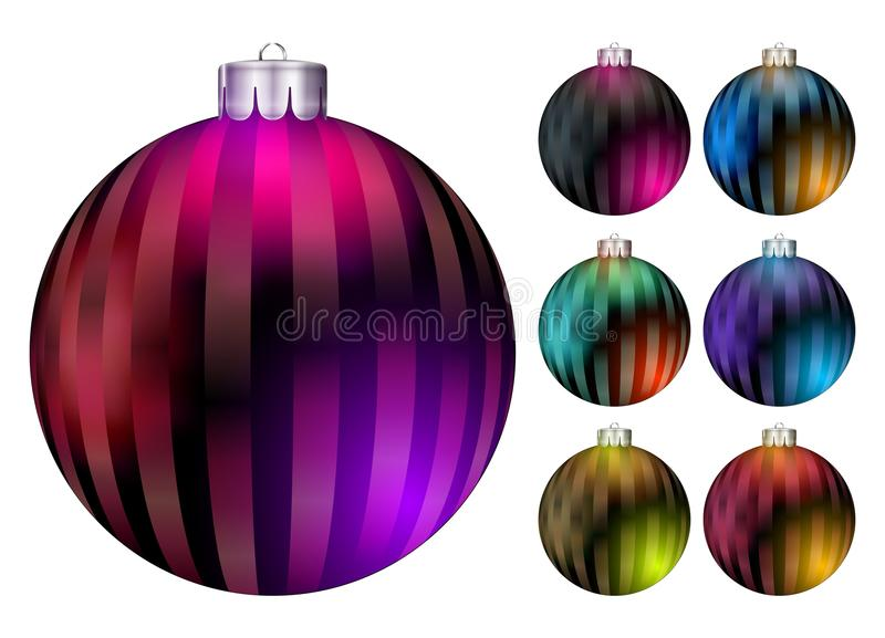Set of Vector Christmas Balls. Realistic Colorful Xmas Ball. stock illustration