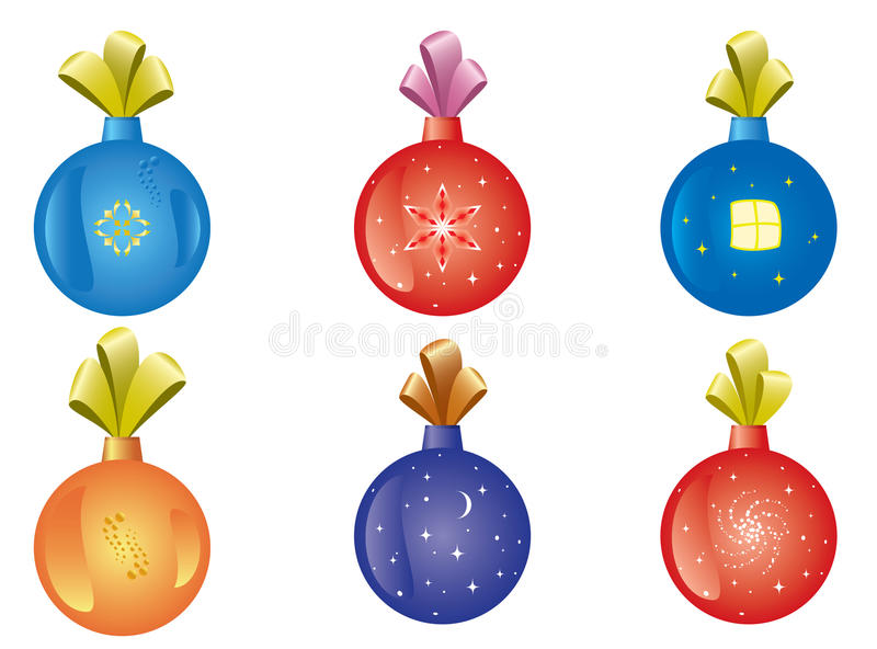 Set Of Vector Christmas-tree Decoration Royalty Free Stock Photo