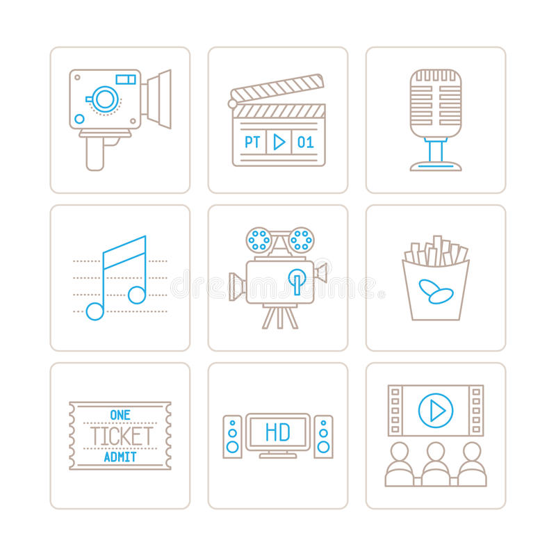 Set of vector cinema icons and concepts in mono thin line style.  vector illustration